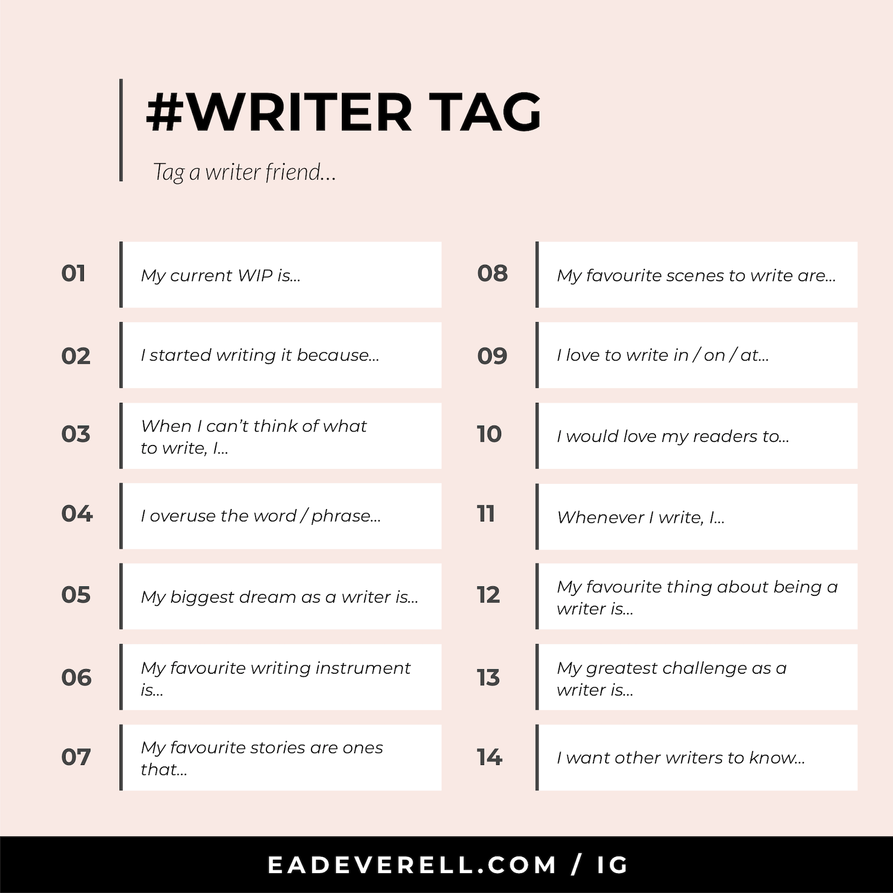 Writer Tag - Instagram Template for Writers