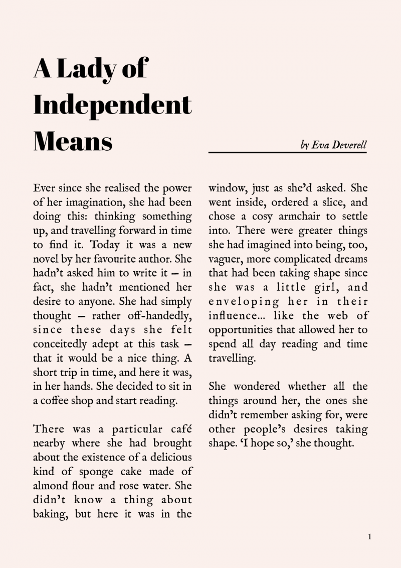 A Lady of Independent Means - One Page Story