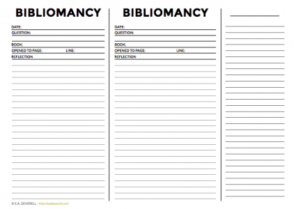 Bibliomancy worksheet
