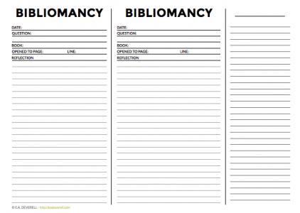 Bibliomancy worksheet