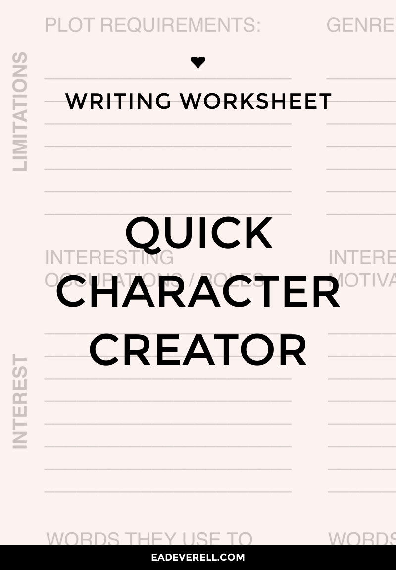Character Creation Writing Worksheet Wednesday