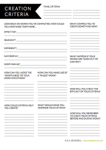 Writing worksheet - Creative Criteria