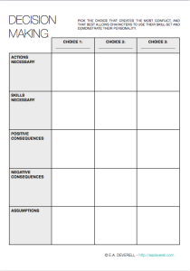 Decision making worksheets for students