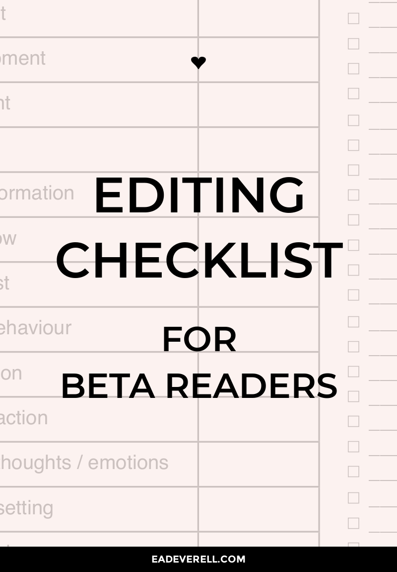 Editing Checklist for Writers & Beta Readers