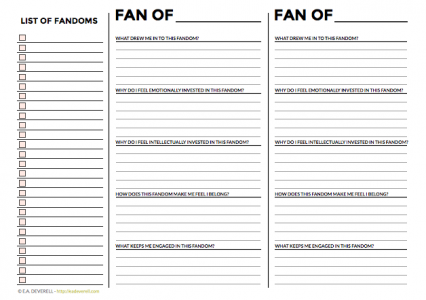 Fandom worksheet