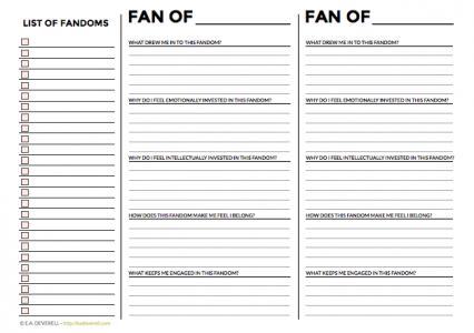 Fandom worksheet