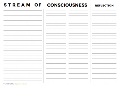Stream of consciousness worksheet