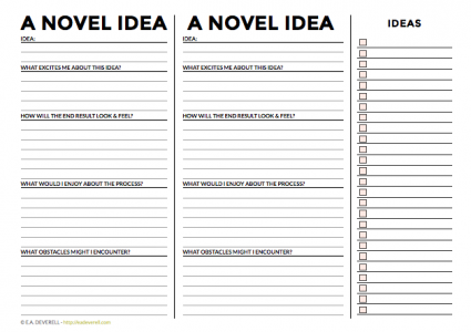 Writing idea worksheet