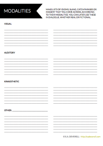Modalities Worksheet