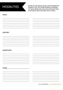 Modalities Worksheet