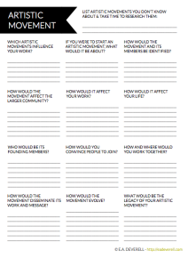 Writing worksheet - Artistic Movement