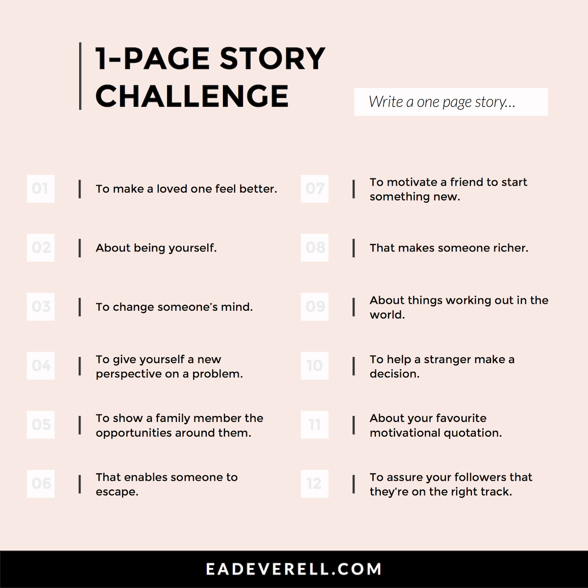 One Page Story Writing Challenge Prompts