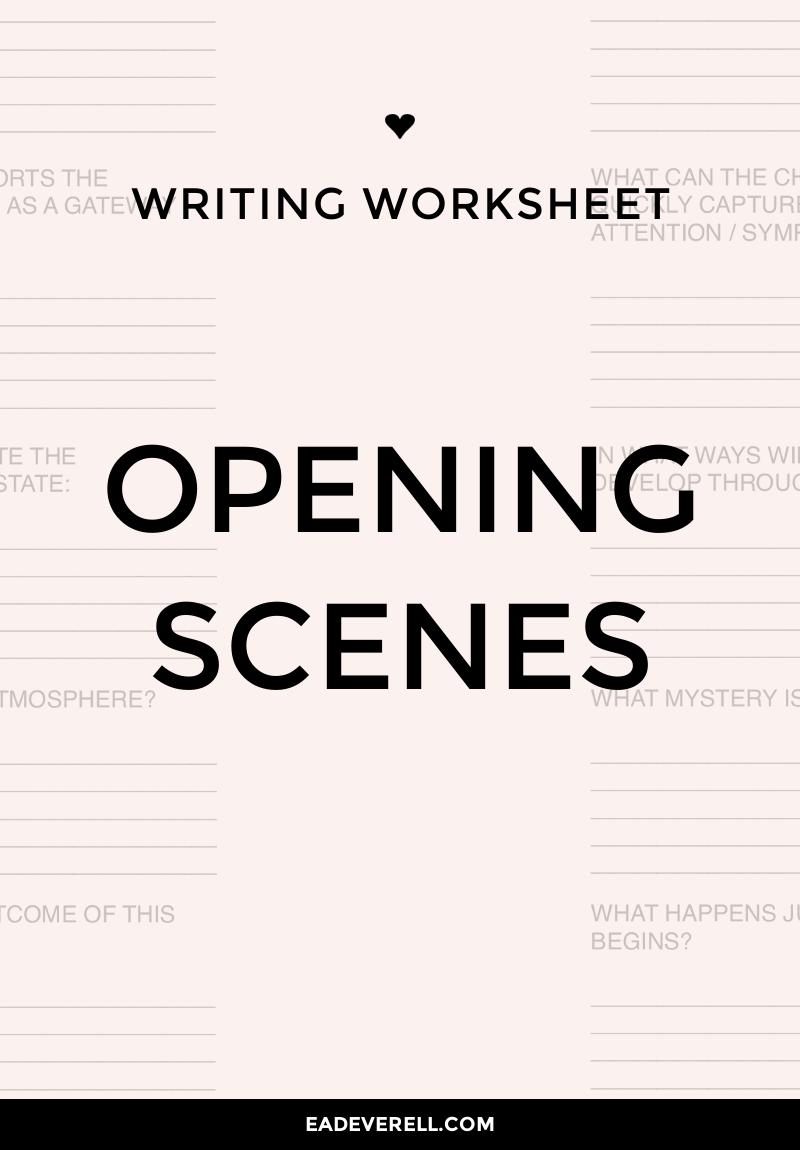 opening scene  writing worksheet wednesday