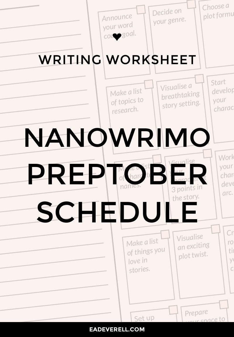 Preptober Calendar - NaNoWriMo Schedule & Prompts