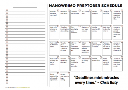 NaNoWriMo Preptober Schedule