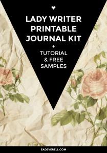 Printable Journal Kit - Lady Writer. + Book binding tutorial, printable ribbons & title spots & free printable scrapbook paper sample.