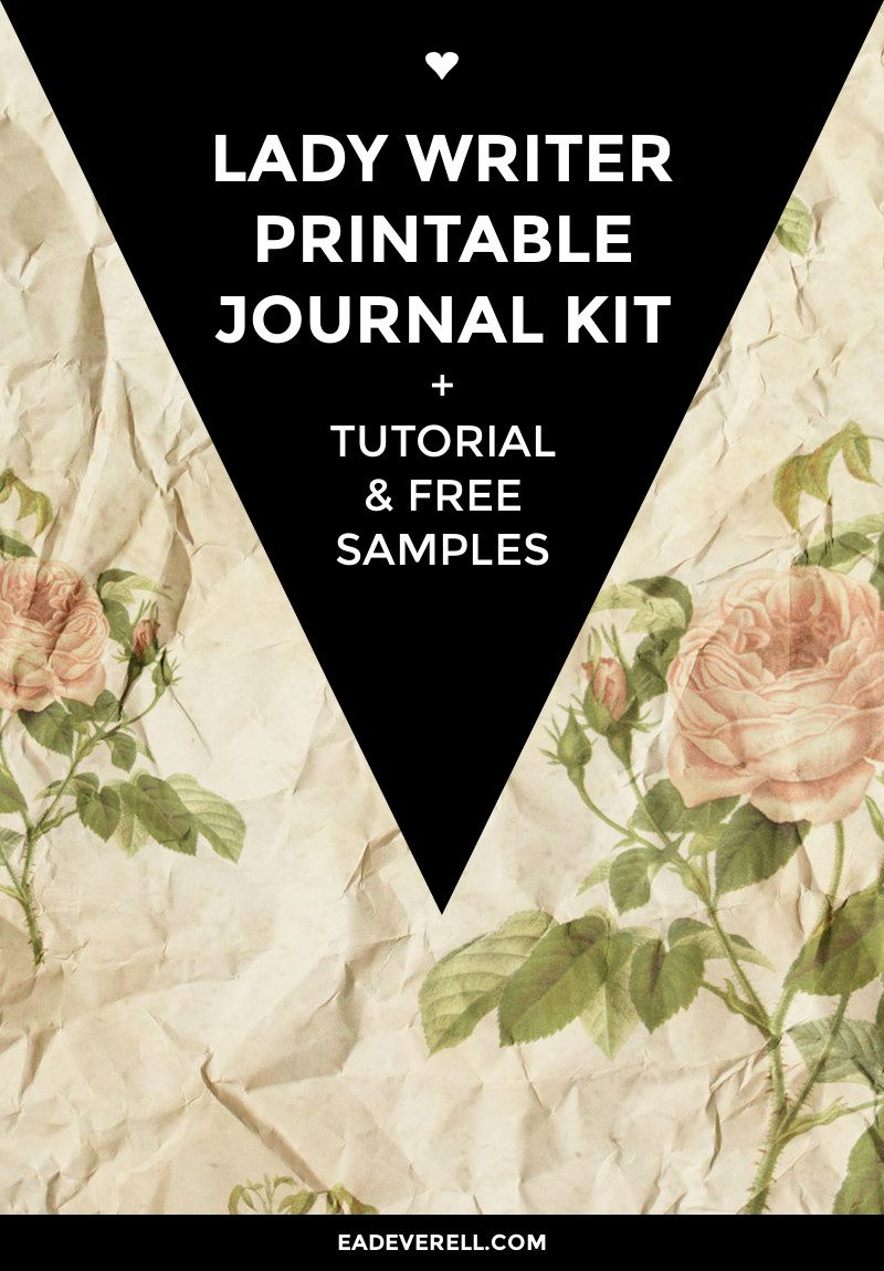 Printable Journal Kit - Lady Writer. + Book binding tutorial, printable ribbons & title spots & free printable scrapbook paper sample.