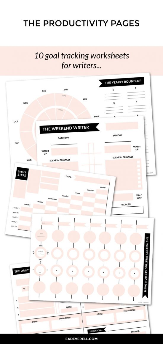 Productivity for Writers - 10 goal tracking worksheets for NaNoWriMo and beyond.
