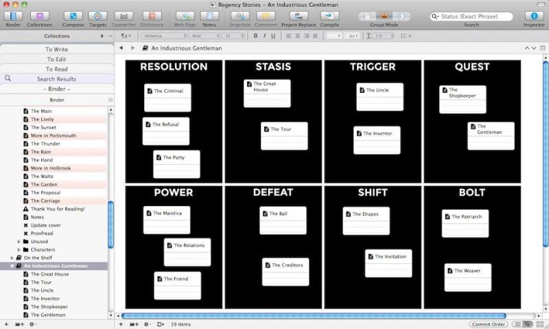 Scrivener Freeform Corkboard