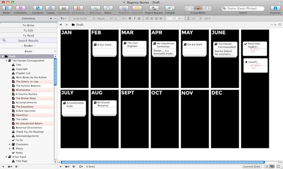 scrivener corkboard templates for organisation