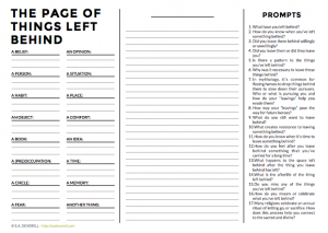 Writing journal worksheet - The Page of Things Left Behind