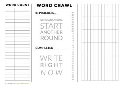 NaNoWriMo Worksheet - word crawl