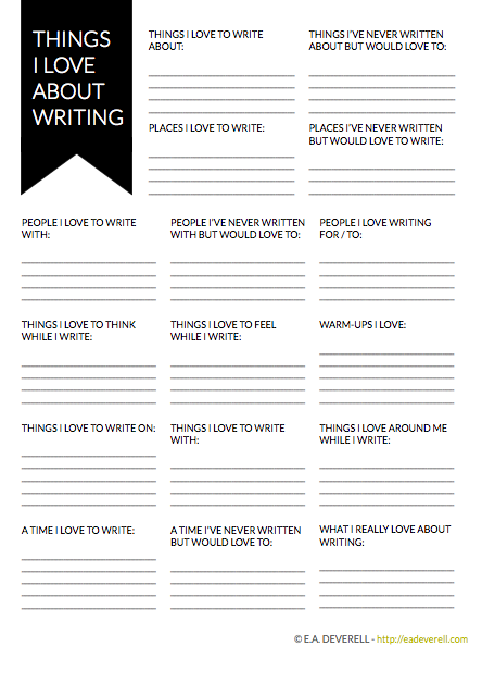 writer worksheet wednesday things i love creative writing blog. Black Bedroom Furniture Sets. Home Design Ideas