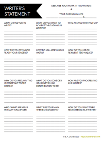 Writer's Statement Worksheet