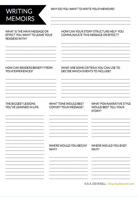 Writing Memoirs Writer Worksheet Wednesday Creative