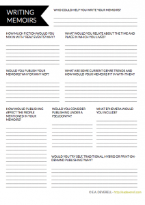 Memoir writing worksheet