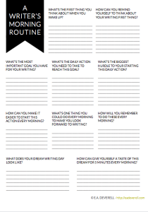 Use this writing worksheet to design a morning routine that gets you writing.