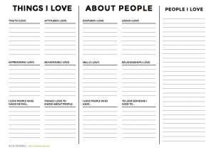 Writing worksheet - people