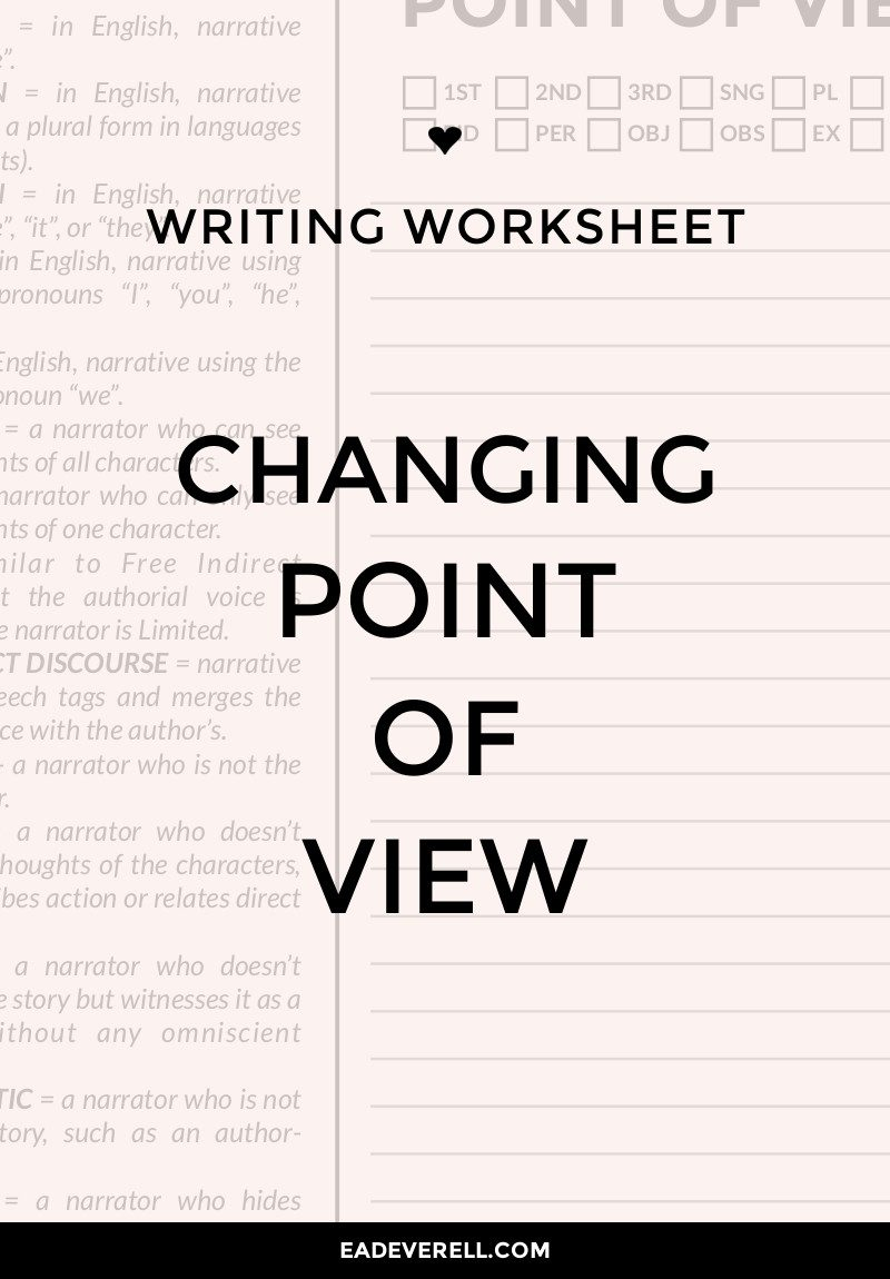 Point of View Writing Worksheet