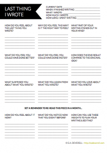 Writing worksheet - how to judge the last thing you wrote.