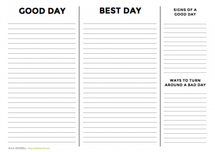 Journal worksheet - Write your day