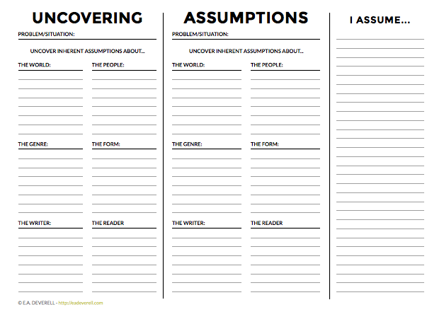 Writing worksheet - Uncovering Assumptions