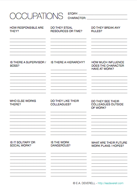 occupations  writing worksheet wednesday