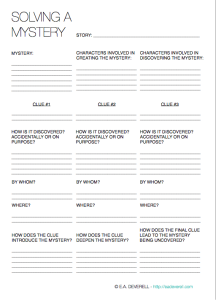 Solving a mystery writing worksheet wednesday for Mystery novel outline template