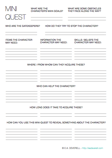 Creative writing creating a character worksheet