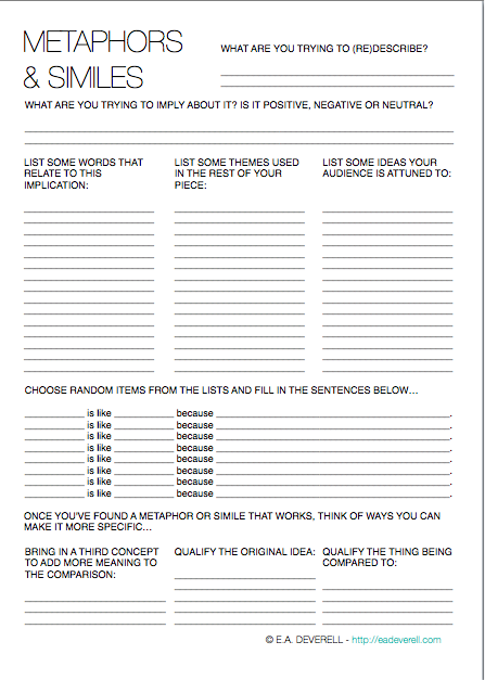 Metaphor and Simile Worksheet