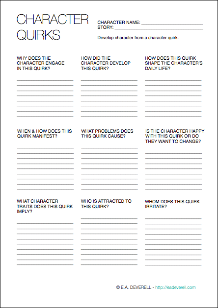 character quirks writing worksheet wednesday. Black Bedroom Furniture Sets. Home Design Ideas