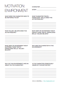 Creative Writing Worksheet - Character Motivation